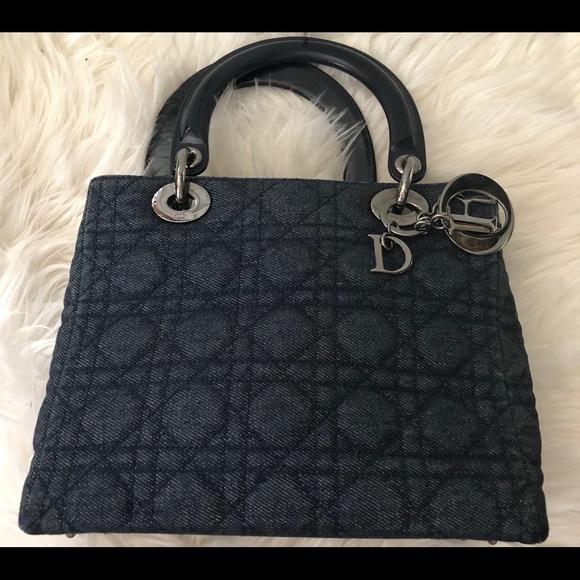 19ac974f3173 Dior Handbags - Rare Dark Denim   Leather M Lady Dior (Mint)